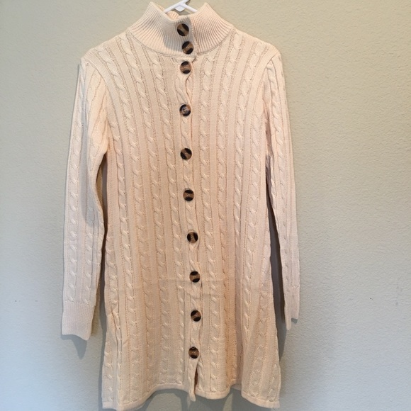Dresses Cable Knit Cream Color Sweater Dress Turtleneck Poshmark